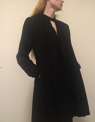 AU120 • Buy Scanlan Theodore Design Black Dress With Sleeves And Drape Neck - Size 12