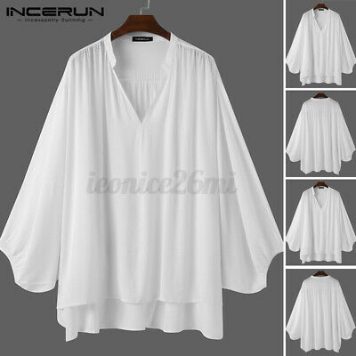 Mens Japanese Hippie Baggy Ruffle Pirate Shirts Casual Baggy Party Tunic Shirts • 13.58£