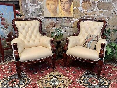AU860 • Buy Pair Vintage Leather French Louis Wingback Chesterfield Lounge ArmChair~Chair