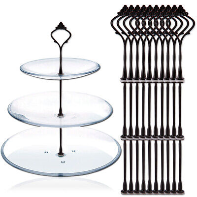 £10.44 • Buy 10 Sets 3 Tiers Cupcake Cake Plate Stand Handle Party Wedding Display Fittings