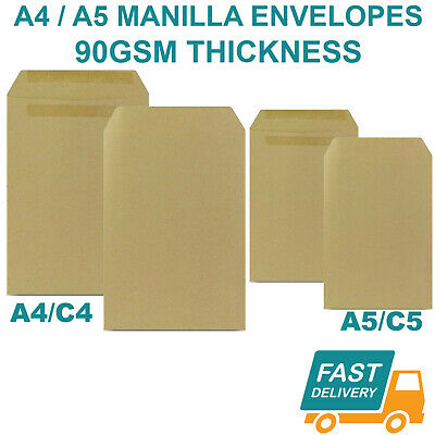 £0.99 • Buy C4 A4 C5 A5 Manilla Brown Mailing Envelopes Plain Self Seal Office 90gsm Quality