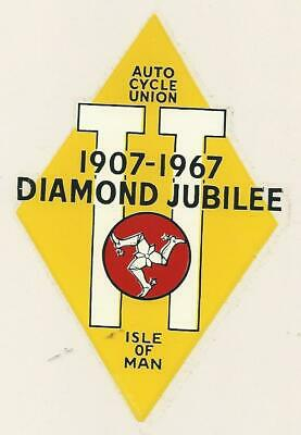 Original. Acu. 1967. Isle Of Man. Diamond Jubilee. Sticker. Tt Races. Manx.  Mgp • 3£