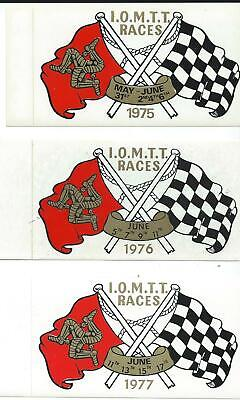 Original. Isle Of Man. Tt Races. Manx. 3 X Stickers. 1975, 1976 & 1977. Mgp. Ugp • 6£
