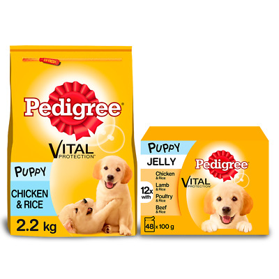 £19.99 • Buy Pedigree Puppy Dry Chicken & Rice 2.2kg & Mixed Varieties In Jelly 48 X 100g