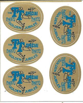 ORIGINAL. 5 X GOLDEN JUBILEE. TRANSFERS. ISLE OF MAN TT RACES. 1977. MANX. MGP. • 5£