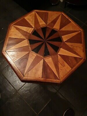 Rare Antique Octagonal Inlaid Table With Marquetry • 89.99£