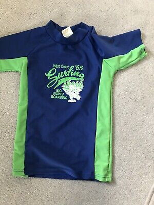 Protective Sun Top Age 6 Years Green/Blue In Excellent Condition • 1.50£