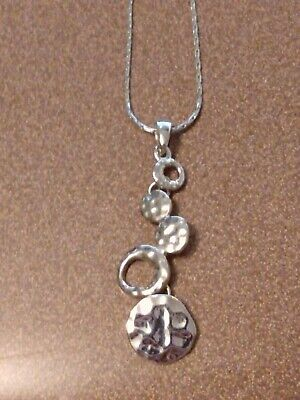 $ CDN7.58 • Buy Lia Sophia Silver Necklace With Multiple Circles Pendant, Some Hammered
