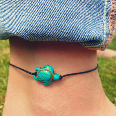 String Tie On Bracelet Anklet Turquoise Turtle Calming Surfer Jewellery N2X4 • 1£