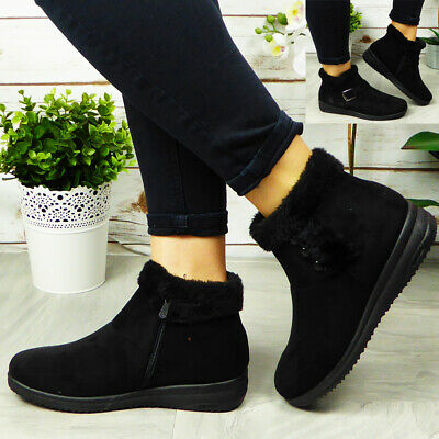 £13.01 • Buy Ladies Low Ankle Boots Womens Warm Faux Fur Zip Lining Winter Grip Sole Shoes