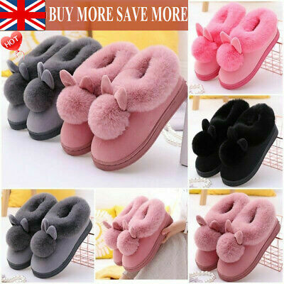 £10.99 • Buy Womens Bunny Rabbit Plush Slippers Winter Warmer Indoor Slip On Soft Home Shoes&