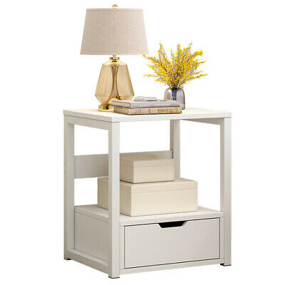 Modern Bedside Table Drawers Cabinet Nightstand Storage Bedroom Furniture White • 24.99£