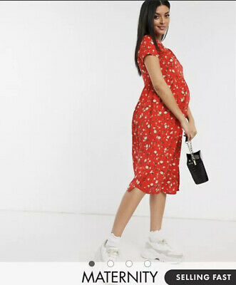 AU20 • Buy ASOS Wednesdays Girl Maternity Midi Smock Dress In Red Floral Size 12