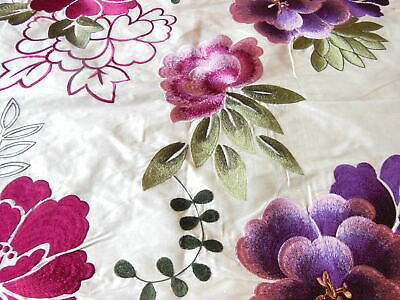 Embroidered Floral Silk Fabric Sample/Remnant, 64 X 50cm • 8.50£