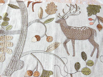 Voyage Embroidered Fabric Sample/Remnant/Deer & Acorn Trees, 70 X 26cm • 7.50£