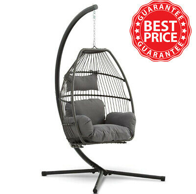 Cocoon Hanging Egg Chair Swing Folding With Cushion & Stand- Single • 249.99£