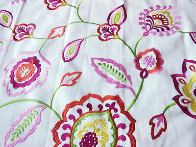 Embroidered Floral Fabric Sample/Remnant, 70 X 90cm • 9.50£
