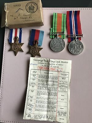 4 WW2 Medals & Box, War, Defence, 1939-45 & France And Germany Stars • 30£