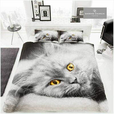 Gaveno Cavailia WILDLIFE 3D CAT Bed Set Duvet Cover & Pillow Case - King Size • 19.99£