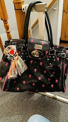 Paul's Boutique Brown Leopard Bowling Bag With Pink Skull Pattern • 10£