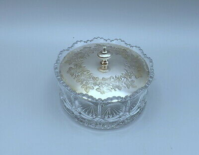 Victorian Glass Butter Dish With Silver Plated Lid C1880 • 12£