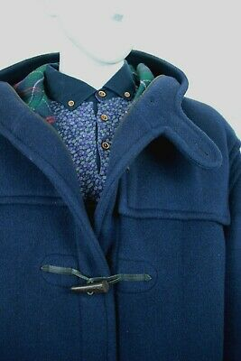 $135.04 • Buy Gloverall England Men's Navy Blue/plaid Wool Duffle Coat With Hood Size Xl Vgc!