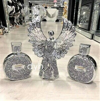 Set Of 3 Silver Crushed Diamond Sparkly Angel Girl Perfume Ornament Sitter Bling • 69.99£