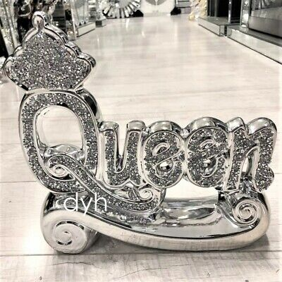 £19.90 • Buy Silver Crushed Diamond Sparkly Crown King Queen Ornament Shelf Sitter Bling