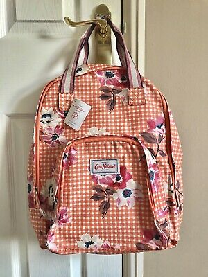 Cath Kidston Backpack BNWT Orange Gingham Bouquet Floral! Kath Rucksack • 26£