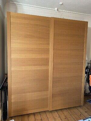 IKEA PAX Wardrobe, Sliding Doors, Oak Effect, Used But Good Condition, 8 Shelves • 323£