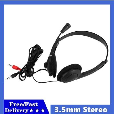 3.5mm Wired Earphone Over-Ear Headphone Stereo Headset With Mic For PC Laptop UK • 7.39£