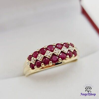 AU438 • Buy 9ct Gold Ring Natural Ruby Diamond Ring Size R1/2 - 9