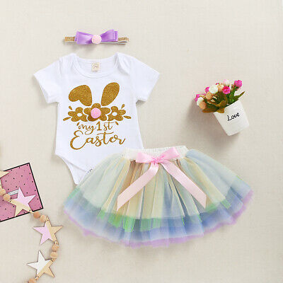 NEW 1st Easter Gold Bunny Baby Girls Rainbow Tutu & Headband Outfit Set • 8£