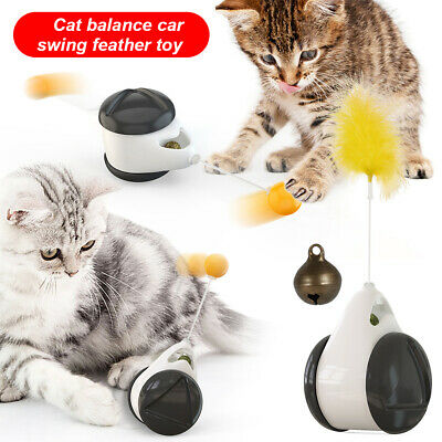 AU15.89 • Buy Cat Interactive Funny Toys Puzzle Smart Pet Cat Balls Rotating Feather Teaser AU