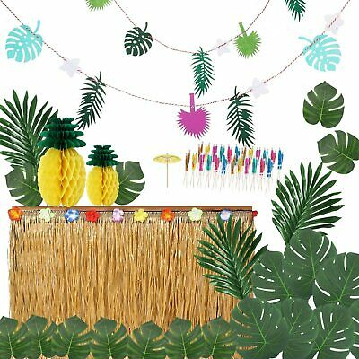 Tropical Theme Hawaiian Luau Table Grass Skirt Cover With Flower BBQ Party Decor • 9.99£
