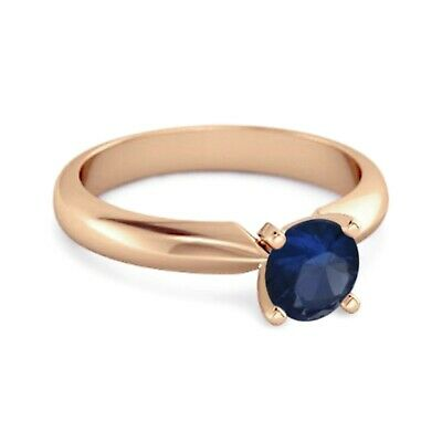 AU238.06 • Buy Solitaire 0.25 Cts Blue Sapphire Gemstone 9K Rose Gold Promise Ring