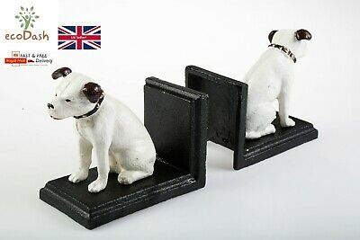 Cast Iron Vintage Style His Master's Voice HMV Nipper The Dog Bookends • 23£