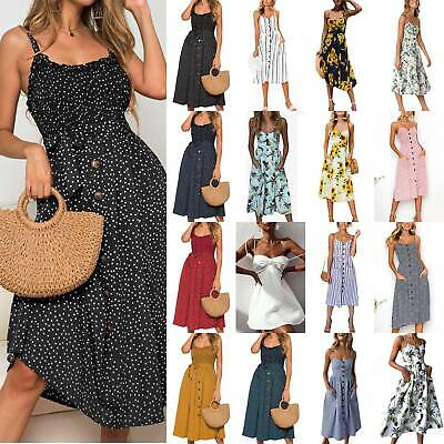 Womens Summer Floral Bandeau Midi Dress Holiday Beach Buttons Strappy Sundress • 14.19£