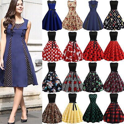 Womens 50s Vintage Sleeveless Hepburn Evening Party Rockabilly Pinup Swing Dress • 19.99£