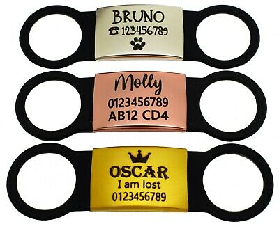 £4.99 • Buy Slide On Collar Silicone Engraved Rectangle Id Name Personalised Pet Dog Cat Tag