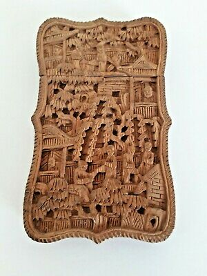 Chinese Carved Wood Card Case Circa 1880. • 175£