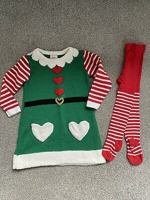 2-3 Years Knitted Elf Dress Christmas With Tights • 1.50£