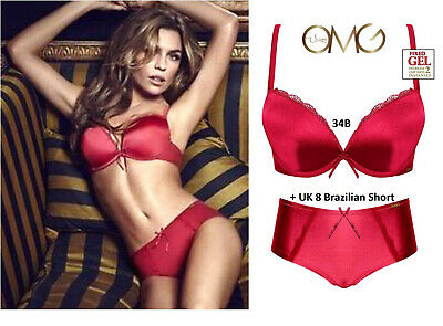 Ultimo OMG Red Gel Padded Push-up Racer-back Plunge Bra Set: 34B & 8 Short • 32£