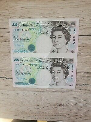 Extremely Rare Misprint And Miss Cut 5 Pound Notes, Cashier CBA Kentfield, Near • 65£