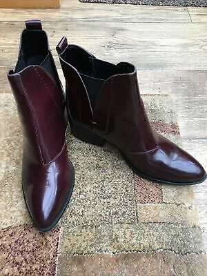 Marks And Spencers Autograph Leather Burgundy Ankle Boots Size 4 1/2 EU 37.5 • 5£