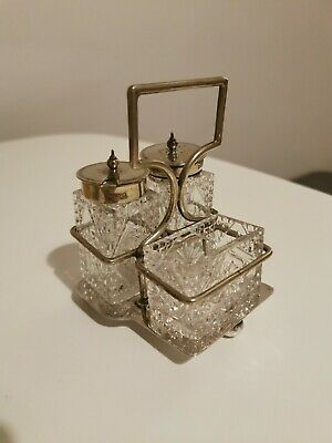 Lovely Vintage Silver Plated EPNS Condiment Cruet Set With Stand 3 Glass Cruets • 12£