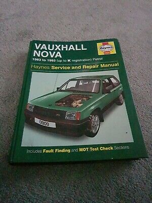 Vauxhall Nova 1983 Yo 1993 Up To K Reg Haynes Service And Repair Manual • 3.75£