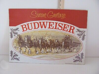 $ CDN37.96 • Buy Vintage Budweiser 1977 Clydesdale SEASONS GREETINGS Cardboard Sign 20 W X 14 T
