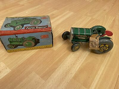 Vintage Toy Tractor Mettoy Tractor Boxed Clockwork Never Played With Key Unopen! • 84£