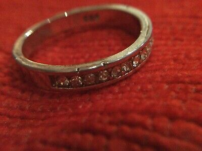 Lovely 925 Silver Half Eternity Ring Size N 1/2 With Czs Stamped 925 • 2.30£